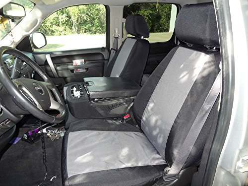 Durafit Seat Covers Made to fit- Chevy Truck/Pickup Silverado, Avalanche and GMC Sierra LT 40/20/40 Custom Black/Gray Waterproof Endura Seat Covers.