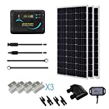 Renogy 300 Watts 12 Volts Monocrystalline Solar RV Kit with 30A PWM LCD Charge Controller/Solar Panel Connectors/Tray Cable/Corner...