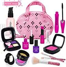 UMIKU Pretend Makeup for Kids Makeup Kit for Girls 12 PCS Pretend Play Makeup Girl Toys Cosmetic Toy Makeup Toys for 3 4 5 6 Year Old Girls Birthday Gifts for 3 4 5 Year Old Girls (Not Real Makeup)