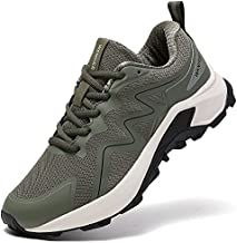 SKDOIUL Trail Running Shoes for Men Outdoor Trekking Hiking Sneakers mesh Breathable Comfort Athletic Tennis Walking Jogging Shoes Army Green Size 10