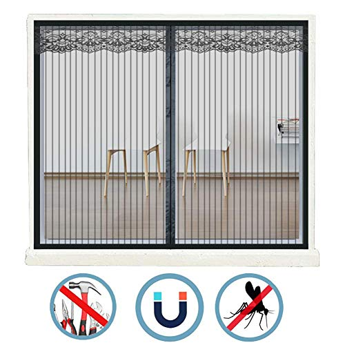 PLEASUR venster vliegen scherm mesh magnetische, zelfklevende mesh venster gordijnen, anti-muggen, onzichtbaar, elke grootte, voor Sash Windows kantelen en draaien Windows - zwart 110x140 CM(WxH)