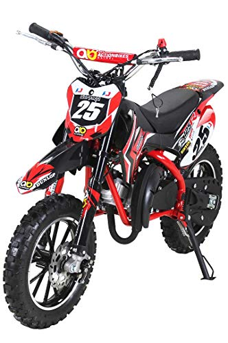 Actionbikes Motors Mini Kinder Crossbike Gepard 49 cc - Scheibenbremsen - Sportluftfilter - Sportauspuff - Luftbereifung (Rot)