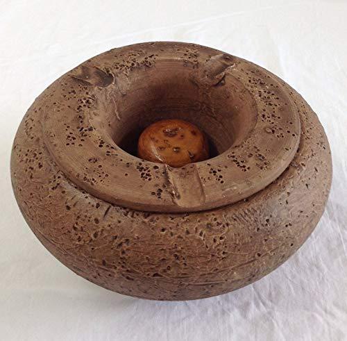 Imagen del producto Cenicero de agua, de barro, para jardín, esmaltado, rustico y hecho a mano