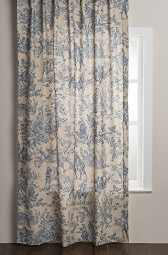 Maison d' Hermine The Miller 100% Cotton Curtain One Panel for Living Rooms Bedrooms Offices Tailored with a Rod Pocket and Loop for Easy Hanging (Blue, 50 Inch by 84 Inch).
