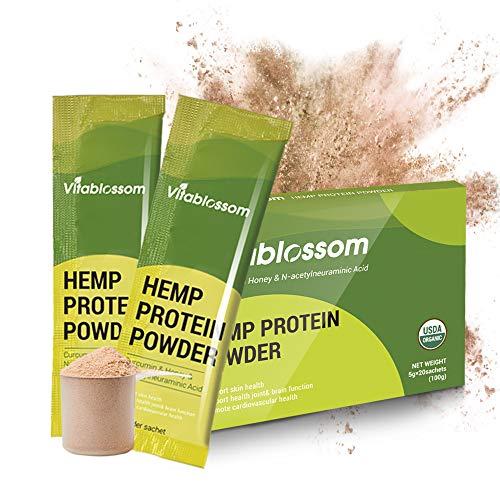 Unterstützung des Immunsystems - Vitablossom Hanfproteinpulver - Premium Immunstärkung - Einzigartige Formel mit Curcumin für Sportler und Veganer