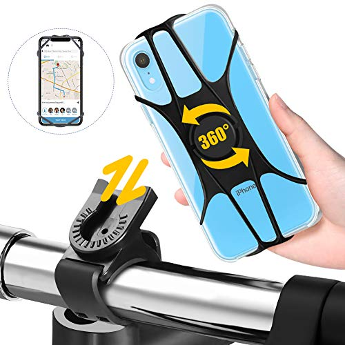 "FISHOAKY Soporte Movil Bici, Porta Movil Bicicleta, 360 Rotación Desmontable Soporte Movil Bicicleta, Soporte Universal Manillar de Silicona para Bicicleta Motocicleta, para 4\""-6.5\"" Smartphone"