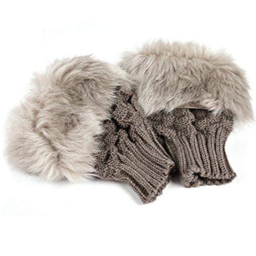 Zeagoo Women's Rabbit Fur Hand Wrist Warmer Winter Fingerless Knitted Gloves