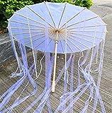 Huan Huan Paraguas de seda chino anime mujer fotografía accesorios antiguos borla paraguas transparente japonés paraguas de papel (color: blanco por)