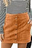 Meyeeka Damen Minirock aus Velourslederimitat, Knopfleiste vorne, hohe Taille, A-Linie, mit Tasche - khaki - Mittel