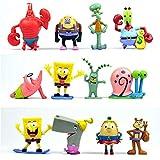 Hoopoo bob esponja modelo de animación, modelo de estatua, servicio de decoración, de 8 cm 1 conjunto de 12