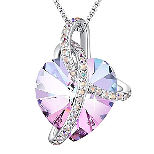 Angelady Pink Heart Pendant Necklaces for Women Crystal from Swarovski in Silver| Jewellery for Women with Cubic Zircon Diamonds Valentine's Day for Daughter Mum Wife Girlfriend