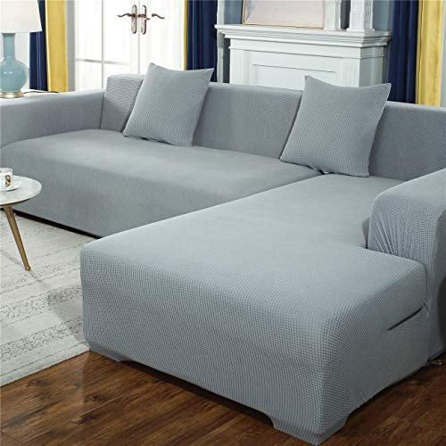 Sofabezug in L-Form, dicker Mais-Samt, Sofa-Schonbezug, Haustierschutz, rutschfest, waschbar, Möbelschutz, modern, Ecksofabezug, grau, 2-Sitzer