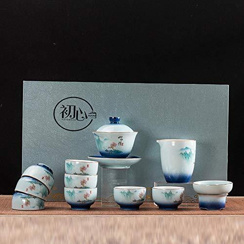 Ksnrang Juego de té Azul y Blanco Horno Que Gira el Juego de té Rojo Juego de té Juego de té Regalo Logotipo Personalizado Juego de té casero Juego de té-12 Cabezas de montañas y ríos