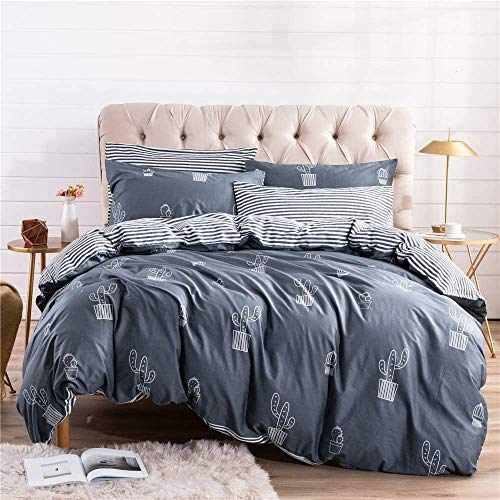 PinkMemory Twin Duvet Cover Cotton Twin XL Bedding Set Cactus Printing Stripe Gray Blue Kids Duvet Cover Set with 2 Pillow Cases Zipper Closure Corners Ties