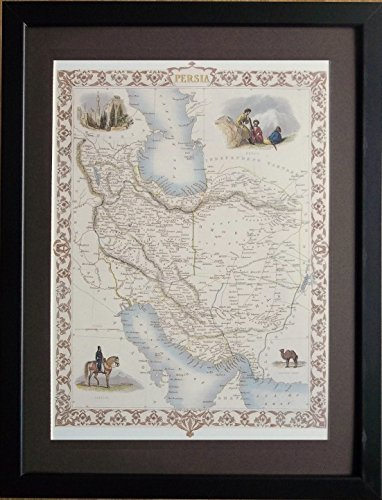 aufgezogen und gerahmt Alte Weltkarte–30,5x 40,6cm Rahmen, Persien Karte
