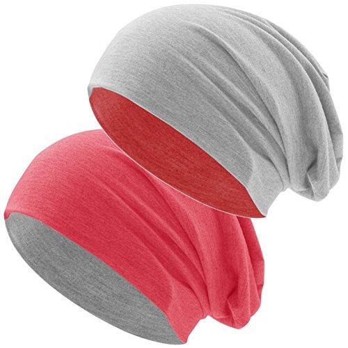 Hatstar Bicolor Jersey Slouch Long Beanie Mütze, leicht und weich, Reversible Beanie für Damen und Herren (Zwei-farbig | Bicolor rot-hellgrau)
