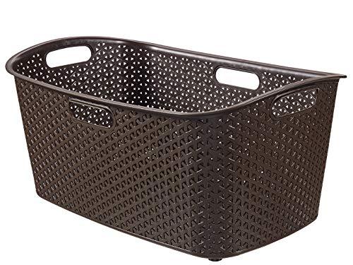 CURVER 223390Efecto Mimbre My Style–Cesto Rectangular Angular plástico Chocolate 60x 39x 28cm 50L