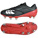 Canterbury Phoenix Raze Soft Ground, Chaussures de Rugby Mixte Enfant, Noir (Black/True Red 989), 35.5 EU