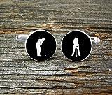 Petit elfe Golfeur Noir Blanc Mariage Souvenir Homme Cadeau Marié Mariage Mariage Mariage Hommes Histoire Cadeau de Golf-Joueur de Golf Courses Golf Courses
