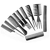 10 pezzi Fibra di Carbonio Parrucchiere Anti-Statico Resistente al Calore dei Capelli Pettine Set,professionali per parrucchieri, pettine per capelli barbiere acconciature, nero