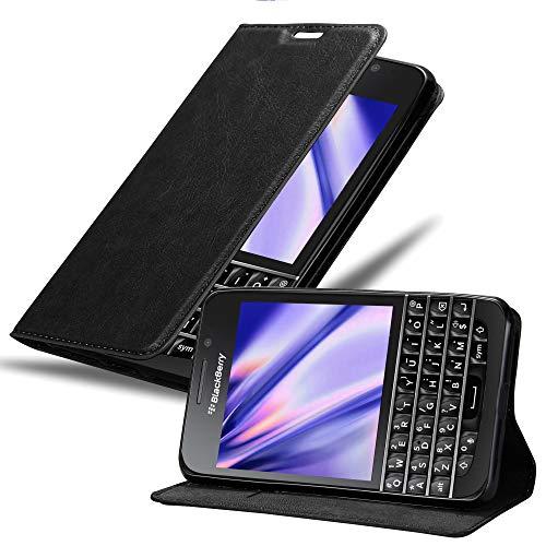Cadorabo Hülle für BlackBerry Q10 in Nacht SCHWARZ - Handyhülle mit Magnetverschluss, Standfunktion & Kartenfach - Hülle Cover Schutzhülle Etui Tasche Book Klapp Style