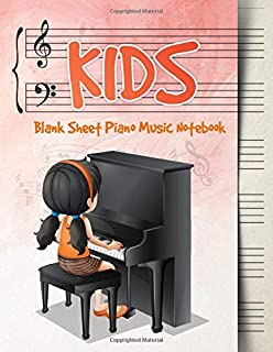 Blank Sheet Music Notebook Kids: Wide Staff Music Manuscript Paper | Girl Playing Piano | Pink and Orange Design (Piano Music Composition Books)