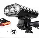Wasafire Luci Bicicletta LED Ricaricabili USB, Super Luminoso 3000 Lumens 5 modalità,5200mAh IPX6 Impermeabile Luci Bici Anteriori e Posteriori per Bici Strada e Montagna