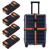 Tagaremuser 4er Pack Gepäckgurte Strapazierfähige Koffergurte Verstellbare Regenbogen-Packgurte mit Schnallenverschluss Reiseaccessoires (Regenbogen)