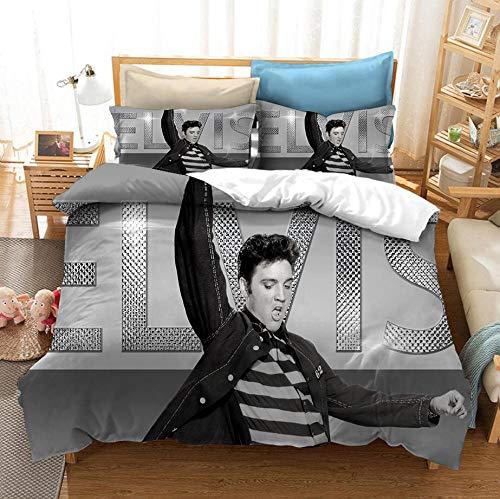 WXYGJYG Funda de edredón 3 Piezas Gris Elvis Presley 180 x 200 cm, Conjunto de edredón Microfibra hipoalergénica Ultra Suave con Juego de Cama Cremallera y 2 Fundas de Almohada