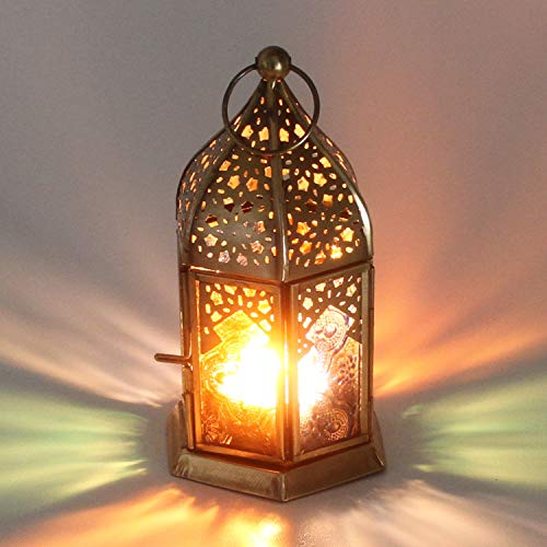 Casa Moro Orientalisches Windlicht Nael Multi aus Metall & Reliefglas | Marokkanische Glaslaterne für drinnen & draußen | Glaswindlicht mit farbigem Ornamentglas | WDL1012