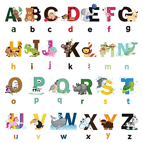 Nursery Educational Wall Decals - Animal Alphabet Baby Decorative Peel and Stick Wall Art Sticker for Daycare School Kids Room Decoration Decals (Style 1)