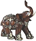 Bellaa 29585 Feng Shui Bronz Color Elegant Elephant Trunk Statue Wealth Lucky Figurine Home Decor Gift 6 Inch