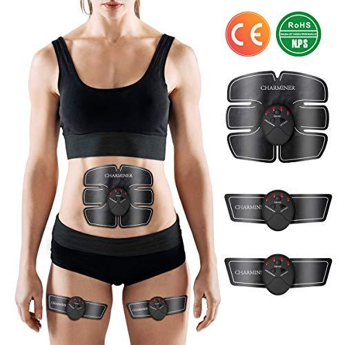 Charminer Electroestimulador Muscular Abdominales, Xcez WEM Masajeador Eléctrico Cinturón EMS Ejercitador del Cuerpo de los Músculos de Brazos y piernas