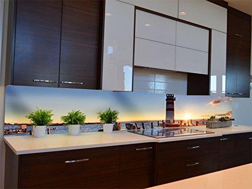 Dalinda® Küchenrückwand Küchenboard Küchenrückseite mit Design Leuchtturm mit Pier KR069