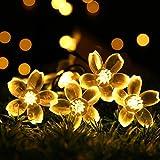 Solar Guirnalda Luces,7m (23 Pies) 50 Leds Luces De Hadas,Impermeable Guirnalda Luces,8 Modos,Para Exteriores Casa Césped Boda Partido