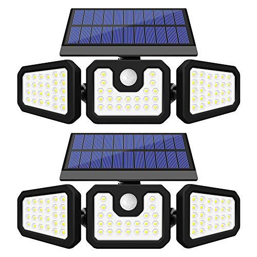 GSBLUNIE Solar Lights Outdoor Motion Sensor, 2 Pack 74 LEDs Solar Motion Sensor Lights Outdoor, IP65 Waterproof 800LM Outdoor Solar Lights Flood Lights Outdoor for Front Door,Yard,Garage and Pathway