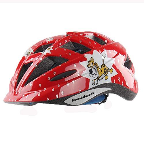 EDW Kinder Fahrradhelm Atmungsaktiv Stoßfest Outdoor Sports Schutzhelm Laufrad/Rollschuh/Skateboard/Skate Einteilige Schutzausrüstung Tiger Rot