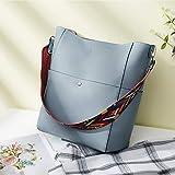 BROMEN Women Handbag Designer Vegan Leather Hobo Handbags Shoulder Bucket Crossbody Purse Blue