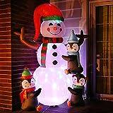 Muñeco de nieve y pingüinos inflables navideños con luces LED giratorias de colores que explotan la decoración del patio al aire libre