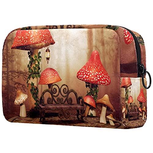Make-up-Tasche Aufbewahrungstasche für kosmetische Toilettenartikel Große rote Pilze Holzbank für Reisen im Freien