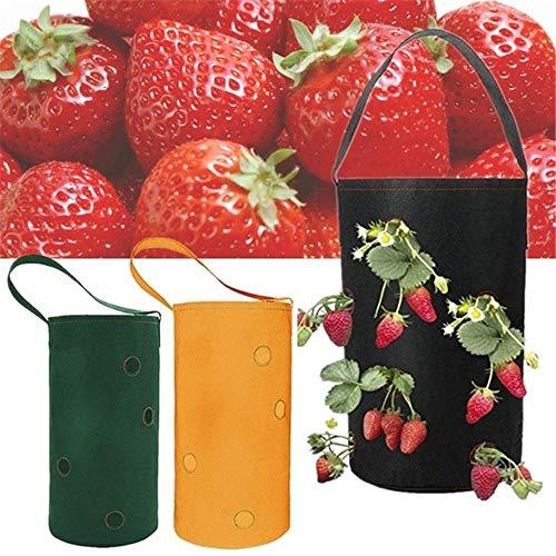 MZY1188 Vegetable Grow Bag, Hängende Garten Pflanzer Bett Container mit Griffen Pflanzen Grow Bag Atmungsaktive umweltfreundliche Multi-Port Erdbeerpflanzen Topf