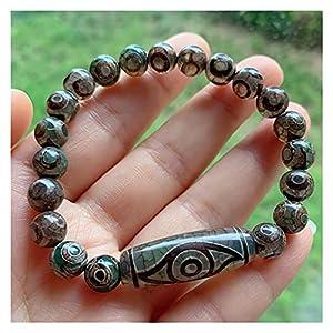 Natürliche tibetische Dzi agates Armband Ruyi Spinne Drachenaugen Grau Green Agat Charme Dzi Perlen Strang Armband Energie Reiki Heilung Spirituosen Geld Zeichnung Reichtum Vermögen