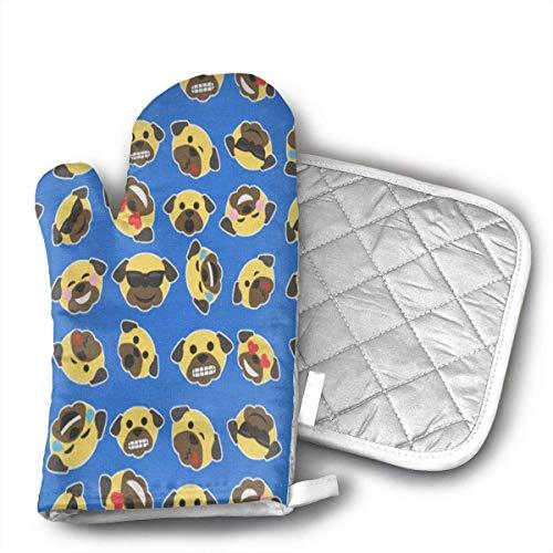 zsxaaasdf Mops Emoticon Ofenhandschuhe und Topflappen (2-teilige Sets) - Hitzebeständiger Topflappen & Backhandschuhe