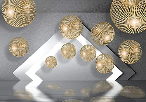wandmotiv24 Fototapete Kugeln Gold 3D Effekt XL 350 x 245 cm - 7 Teile Fototapeten, Wandbild, Motivtapeten, Vlies-Tapeten Modern, Wasser, Beton M1263