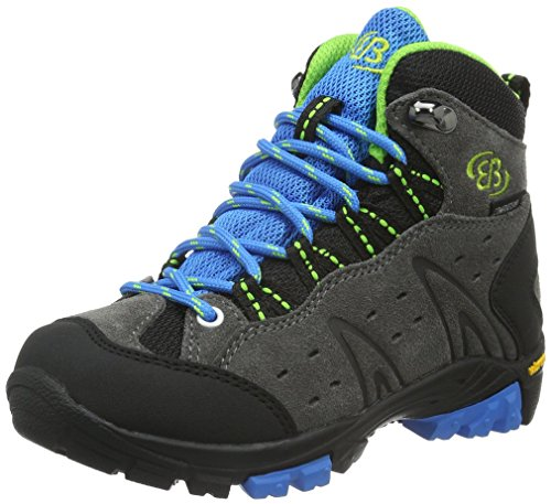 Bruetting MOUNT BONA HIGH KIDS, Jungen Trekking- & Wanderstiefel, Grau (GRAU/BLAU/LEMON), 35 EU (2.5 Kinder UK)