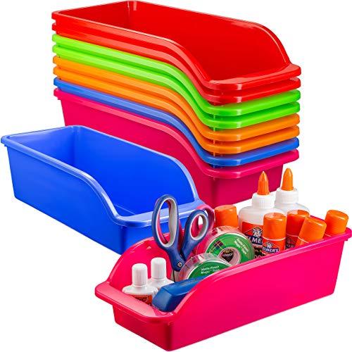 Zilpoo 10 Pack – Plastic Shelf Bins, Closet Shelves Organization Trays, Colorful Classroom Pencil, Crayon, Kids Elementary Supplies Organizer Storage Baskets