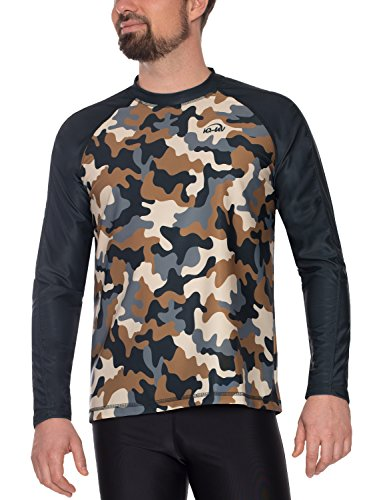 IQ-Company T- Shirt Lycra Homme Loose Manches Longues IQ 230 Camouflage, Vêtement Anti-UV, Olive, FR : L (Taille Fabricant : L (52))