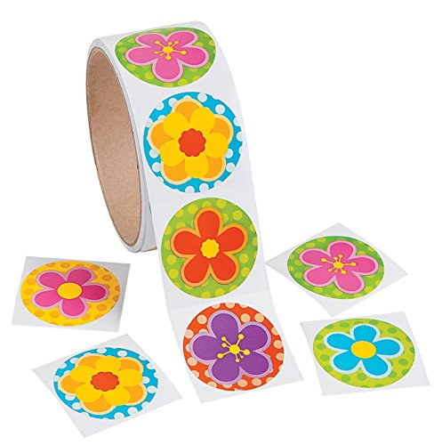 100 Colorful FLOWER Stickers - Polka Dot Backgrounds - FLORAL - Flower Power -BRIGHT Colors - ARTS Crafts SCRAPBOOKING - PARTY Spring