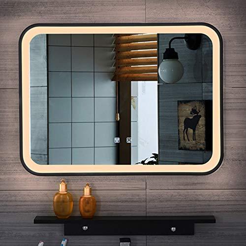 YUANJJ Espejo, Espejo De Baño Rectangular Marco Negro con Iluminación LED, Espejo Plateado HD, Luz Cálida & Luz Blanca, Maquillaje, Espejo De Afeitar