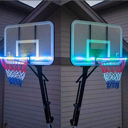PHLPS Luces de aro de Baloncesto LED Luces de Canasta de inducción al Aire Libre LED Baloncesto Marco Luces Cesta Luminoso Color Solar Cambio de Luces de Baloncesto Solar para niños, Adultos, Fiestas